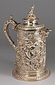 A Victorian silver plated wine flagon, decorated