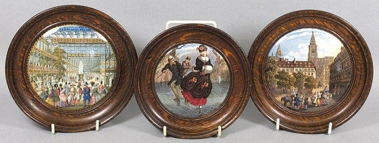 Three pot lids including interior view of the