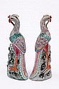 A pair of Chinese famille rose phoenix: each with