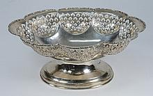 A George V silver oval bowl, maker's mark worn,