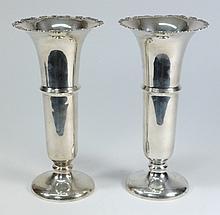 A pair of George V silver vases, maker W. N. Ltd,