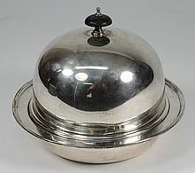 A George V silver muffin dish and cover, maker A B