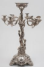 A large plated candelabra centrepiece: with three