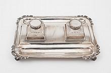A George V silver desk stand, maker C.S Harris &