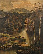 H J Livens [19/20th century]- Cattle watering on a
