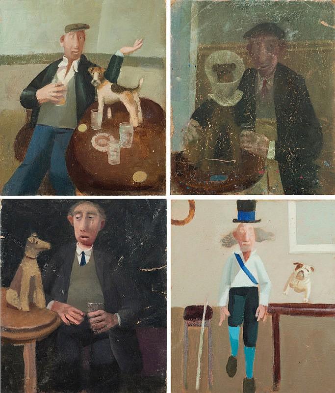 * David Eustace [b.1950]- Morris man and bull dog;