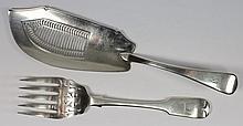 A George III silver Old English pattern fish slice