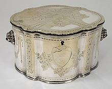 A plated two division tea caddy: crested, in the