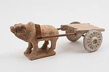 A Chinese pottery group of an oxen and cart: the