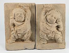 A pair of Chinese pottery rectangular tiles: each