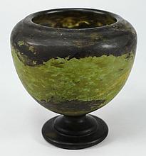 A Daum art glass vase: of pedestal form on stepped