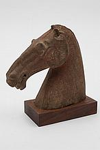 A Chinese pottery figure of a horse's head: with