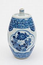 A Chinese blue and white small flask: of barrel