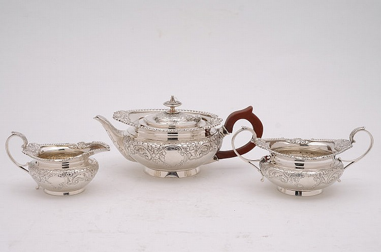 An Edward VII silver three-piece tea service of