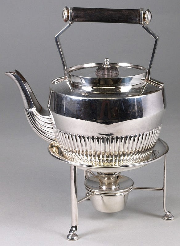 A late Victorian silver plated tea kettle stand