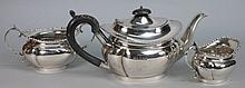 A George V silver three piece matched teaset, the