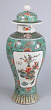 A Chinese famille verte vase and cover: painted