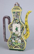 A Chinese famille rose wine pot and cover in