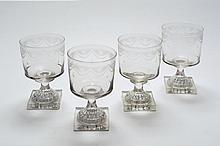 A set of four Irish glass, probably Cork, wine