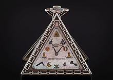 A Masonic silver-cased triangular pocket watch: th