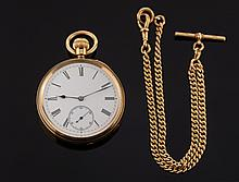 A gentleman's 18ct gold keyless lever open face po