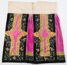 A Chinese embroidered silk skirt: the panels embro