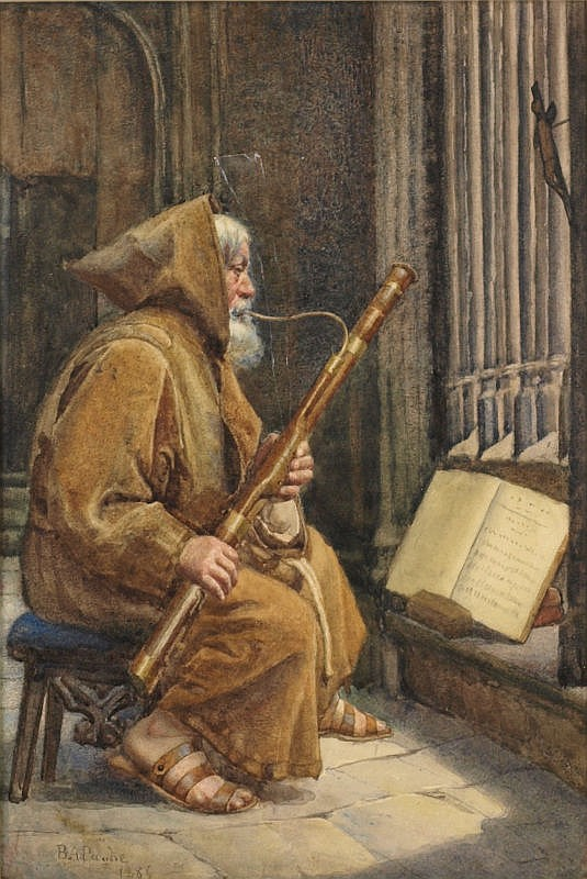 Buddig Anwylini Pughe [1857-?]: Monk playing an