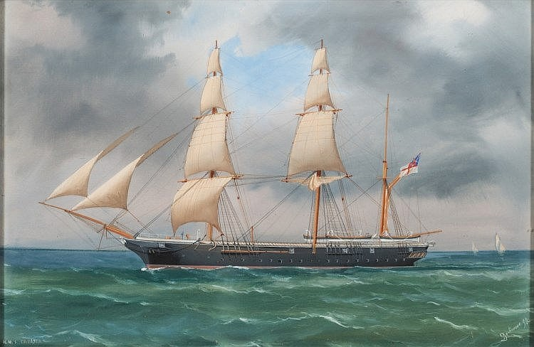 Antonio De Simone [circa 1850-1920, Italian]- H.M.S. Cruiser in coastal waters