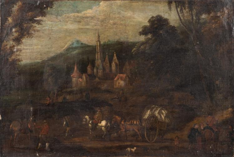 German School 18th Century Travellers In An Upland Landscap
