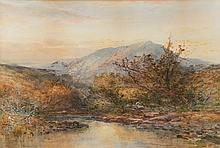 William Widgery [1822-1893]- Upland river landscape at sunset, a fisherman