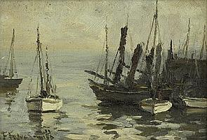 Frances Tysoe Smith (19/20th century) - Shipping and trawlers in harbour