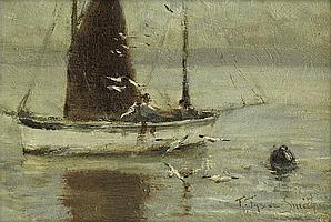 Frances Tysoe Smith (19/20th century) - Trawler in a calm