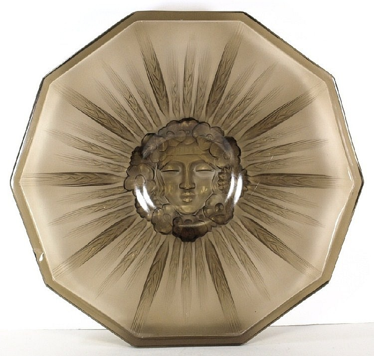 A Verit smoked glass polygonal dish:.