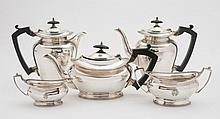 A George VI matched silver five piece tea and
