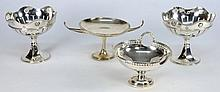 A pair of George V silver pedestal comports, maker