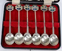 A set of six Edward VII silver and enamel Art