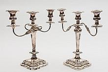 A pair of Elizabeth II silver twin-branch silver