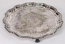 A George V circular silver salver, maker B. B. S.