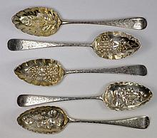 A George III silver-gilt berry spoon, maker Peter