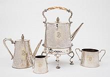 A Victorian four piece plated tea service :