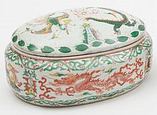 A Chinese wucai box and cover: of shaped oval