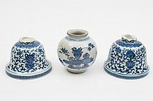 A Chinese blue and white jar and two altar