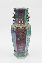 A Cantonese porcelain vase: of hexagonal form the