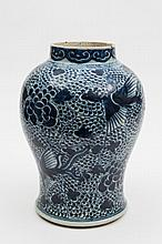A Chinese blue and white baluster vase: painted