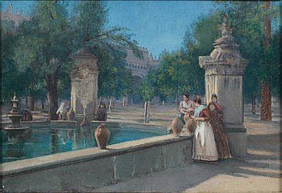 José BREL (1841-1894) A la fontaine, 1892 Huile