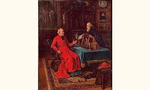 Gaston BONFILS (ne en 1855) Le cardinal amateur de peinture Huile sur toile, signee en bas a gauche. 46 x 38 cm