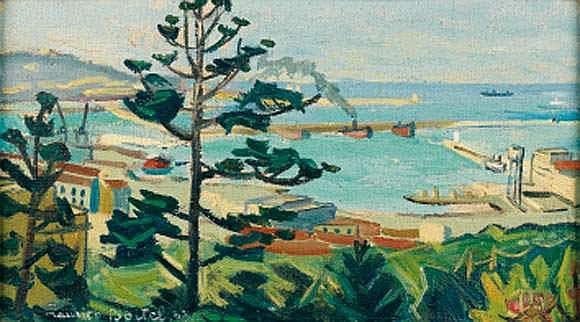 Maurice BOITEL (ne en 1919) - Alger, le port, 1947