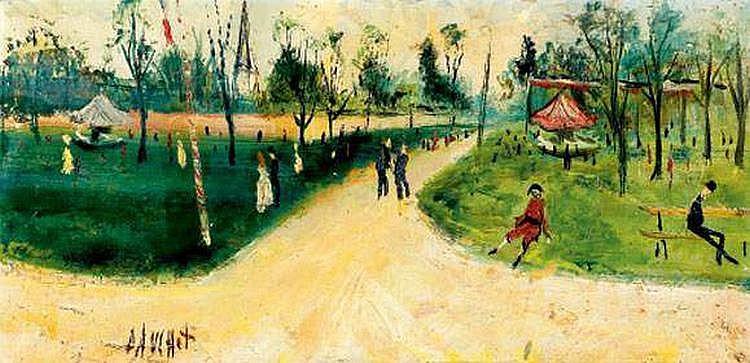 Gabriel DAUCHOT (né en 1927) - Scène de parc