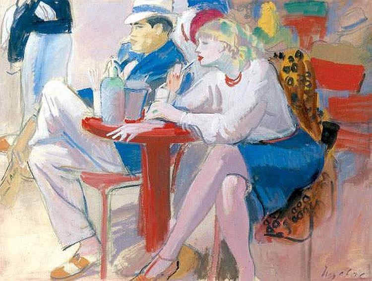 Milivoy UZELAC (1897-1977) - Au café, la terrasse