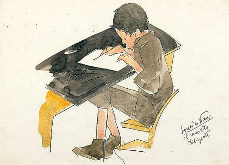 Lorenzo VIANI (1882-1936) - Écolier à sa table